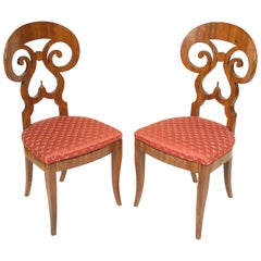 Pair of Biedermeier Style Walnut Side Chairs