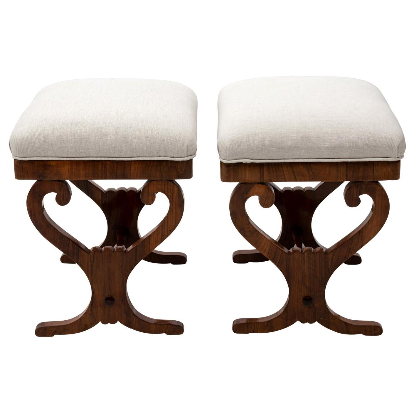 Pair of Biedermeier Upholstered Benches