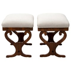 Pair of Biedermeier Upholstered Benches