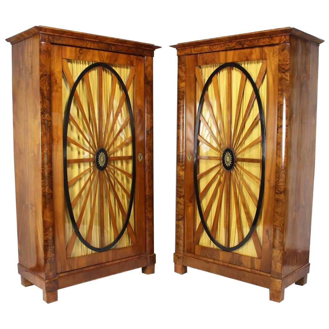 Pair of Biedermeier Walnut and Ebonized Vitrine Cabinets