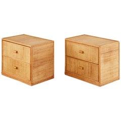 Pair of Bielecky Brothers Raffia Cane Organic Modern Nightstands