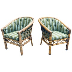 Pair of Bielecky Brothers Rattan Wicker Armchairs
