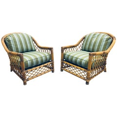 Pair of Bielecky Brothers Rattan Wicker Lounge Chairs