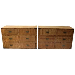 Pair of Bielecky Brothers Style Rattan Chests