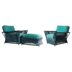 "Pair of Bielecky Brothers Wicker Rattan ""President"" Lounge Chairs & Ottoman"