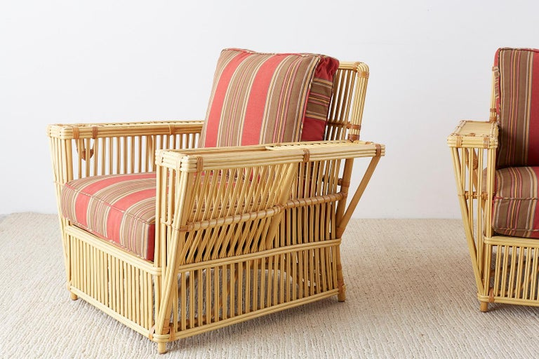 Pair of Bielecky Stick Wicker Rattan President Lounge Chairs For Sale 5