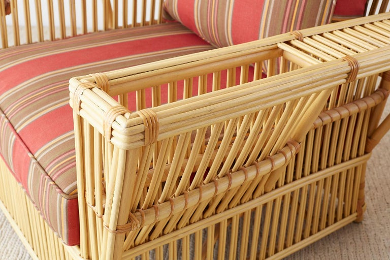 Pair of Bielecky Stick Wicker Rattan President Lounge Chairs For Sale 6