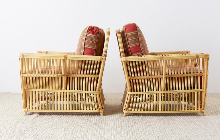 Pair of Bielecky Stick Wicker Rattan President Lounge Chairs For Sale 8