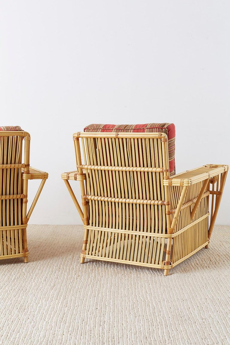 Pair of Bielecky Stick Wicker Rattan President Lounge Chairs For Sale 9