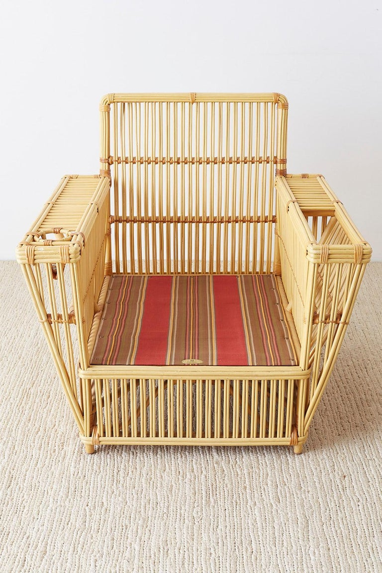 Pair of Bielecky Stick Wicker Rattan President Lounge Chairs For Sale 11