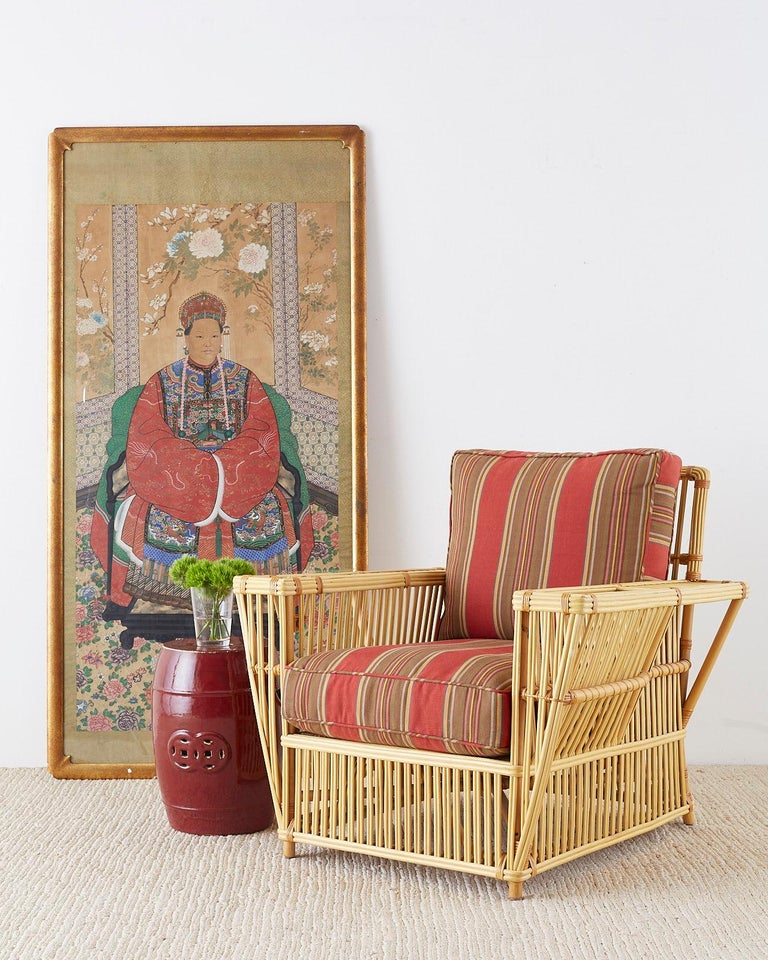 Art Deco Pair of Bielecky Stick Wicker Rattan President Lounge Chairs For Sale