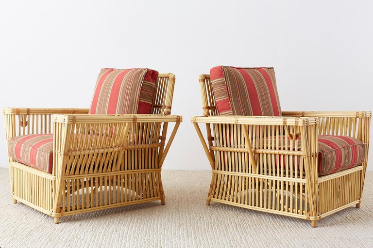 American Pair of Bielecky Stick Wicker Rattan President Lounge Chairs For Sale