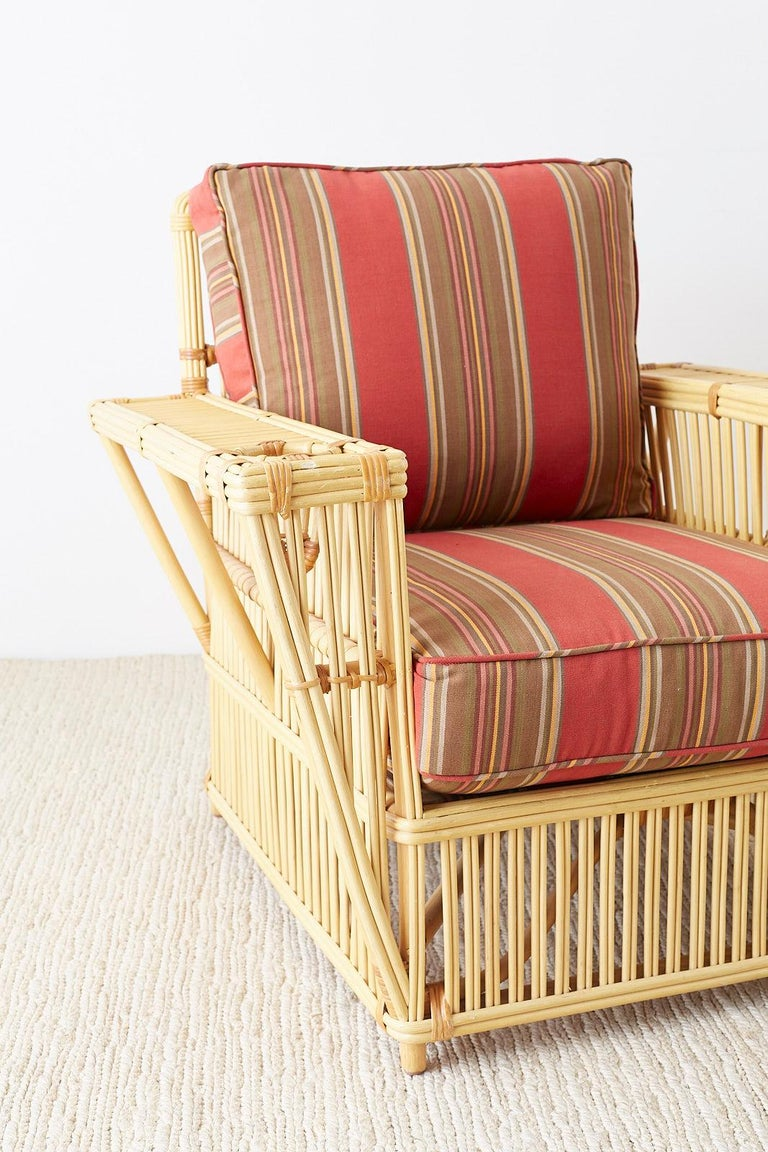 Bamboo Pair of Bielecky Stick Wicker Rattan President Lounge Chairs For Sale