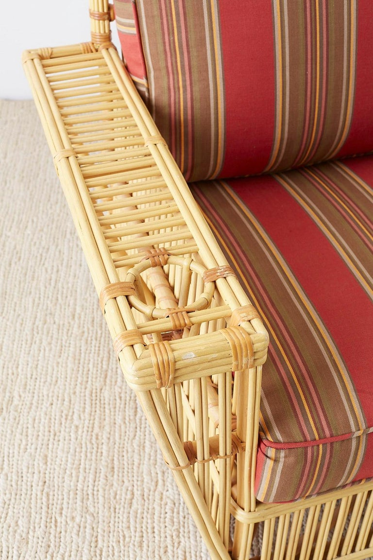 Pair of Bielecky Stick Wicker Rattan President Lounge Chairs For Sale 2