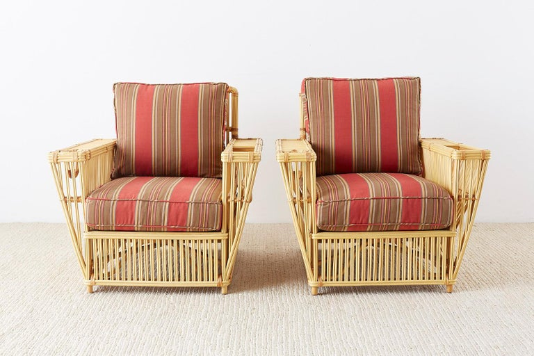 Pair of Bielecky Stick Wicker Rattan President Lounge Chairs For Sale 3