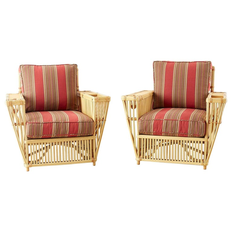 Fantastic pair of art deco style President's armchairs or lounge chairs made by Bielecky Brothers New York. These famous chairs got their name from use on presidential yachts from the early 20th century. Painstakingly made by hand by third