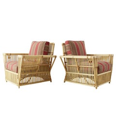 Pair of Bielecky Stick Wicker Rattan President Lounge Chairs