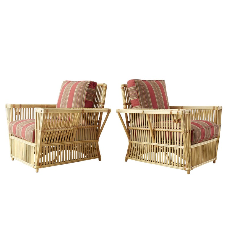 Pair of Bielecky Stick Wicker Rattan President Lounge Chairs For Sale