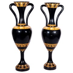 Pair of Big Amphoras in Lacquered Wood, Italy, 20th Century