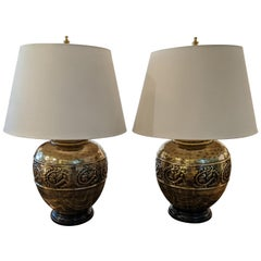 Pair of Big Beautiful Brass Finish Glazed Ceramic Table Lamps