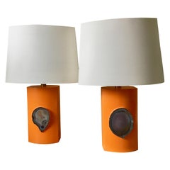 Pair of Big Orange Resin Table Lamps with Blue Agathes, Italy, 1975