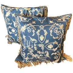 Pair of Big Silk Periwinkle Blue and Cream Ralph Lauren Embroidered Pillows