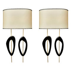 Pair of Big Wall Sconces in Brass, Wood and Parchment Paper by Diego Mardegan
