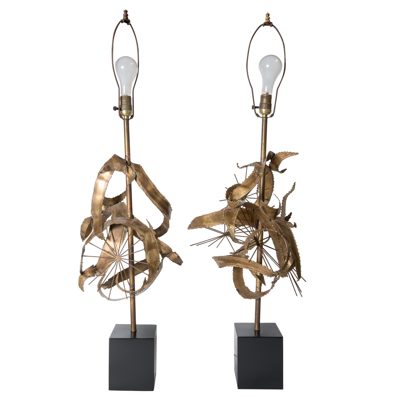 Pair of Bijan Brass Brutalist Lamps for Laurel