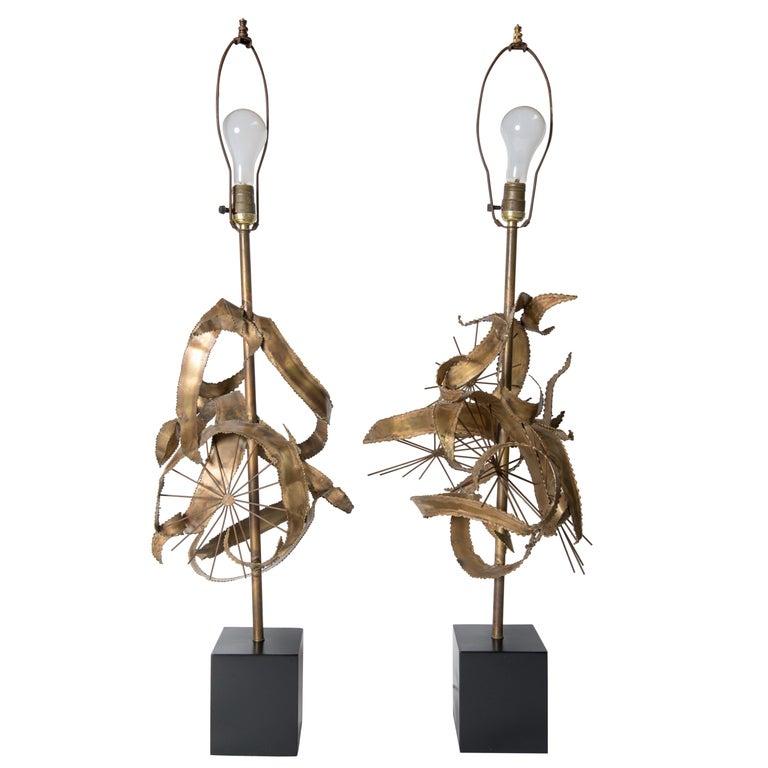 Pair of Bijan Brass Brutalist Lamps for Laurel For Sale
