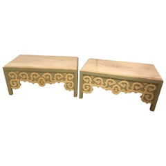 Pair of Billy Baldwin Style Coffee Tables in Hollywood Regency Style with Marble