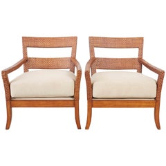 Pair of Billy Baldwin Style Rattan Wrapped Lounge Chairs