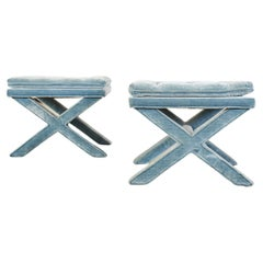 Pair of Billy Baldwin Style X Base Tufted Blue Velvet Benches