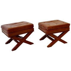 Pair of Billy Baldwin X Base Decorator Ottoman Benches in Russet Leather