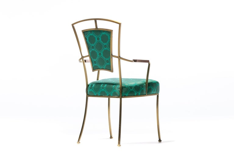 Pair of Billy Haines Style Hollywood Regency Armchairs in Tony Duquette Fabric For Sale 4