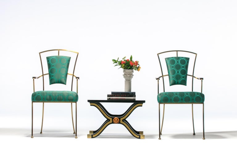 American Pair of Billy Haines Style Hollywood Regency Armchairs in Tony Duquette Fabric For Sale