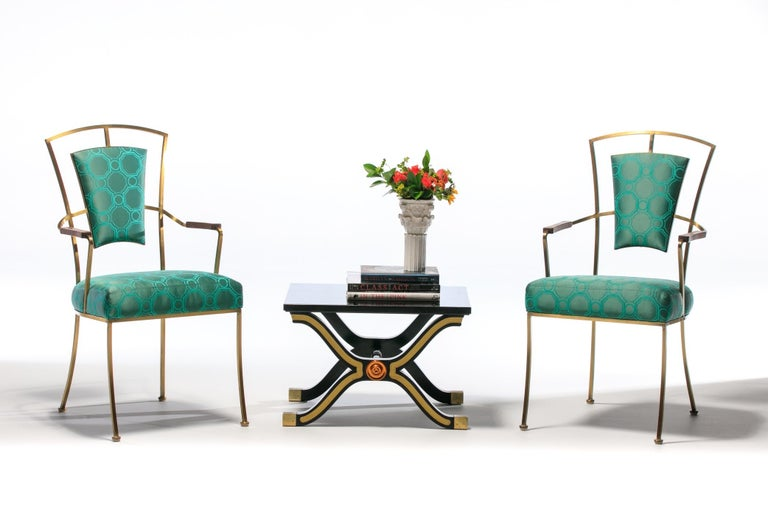 Pair of Billy Haines Style Hollywood Regency Armchairs in Tony Duquette Fabric In Good Condition For Sale In Saint Louis, MO