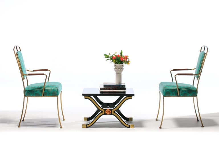 Mid-20th Century Pair of Billy Haines Style Hollywood Regency Armchairs in Tony Duquette Fabric For Sale