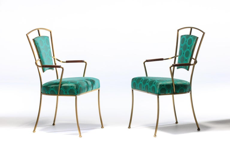 Brass Pair of Billy Haines Style Hollywood Regency Armchairs in Tony Duquette Fabric For Sale