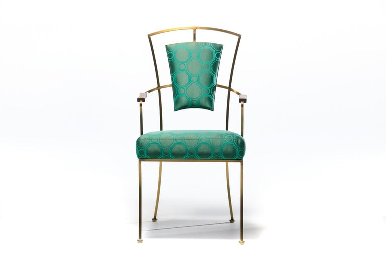 Pair of Billy Haines Style Hollywood Regency Armchairs in Tony Duquette Fabric For Sale 1