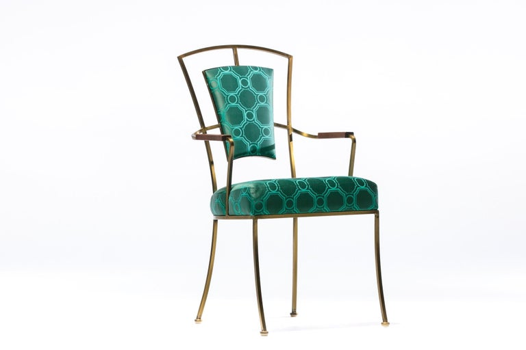 Pair of Billy Haines Style Hollywood Regency Armchairs in Tony Duquette Fabric For Sale 2