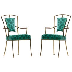 Pair of Billy Haines Style Hollywood Regency Armchairs in Tony Duquette Fabric