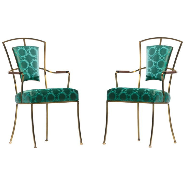 Pair of Billy Haines Style Hollywood Regency Armchairs in Tony Duquette Fabric For Sale