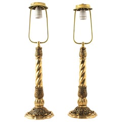 Pair of Bindesbøll Art Nouveau Bronze Table Lamps