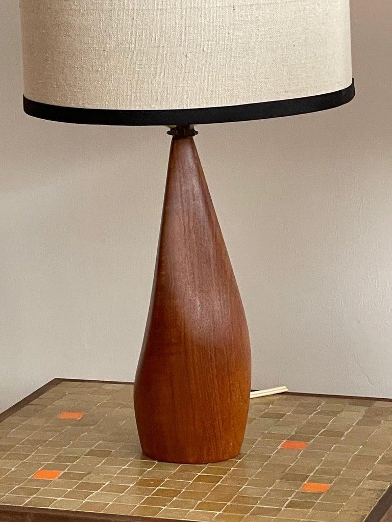 Pair of Biomorphic Danish Teak Lamps by Ernst Henriksen For Sale 7