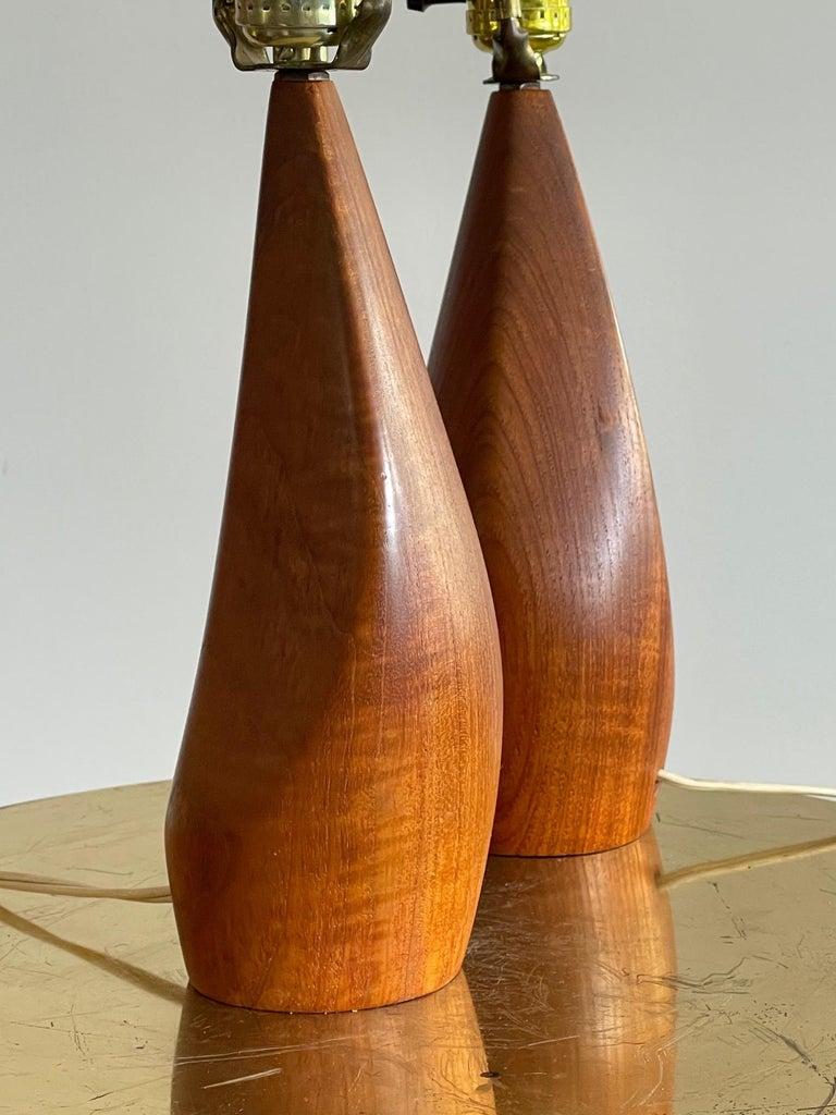 Pair of Biomorphic Danish Teak Lamps by Ernst Henriksen For Sale 8