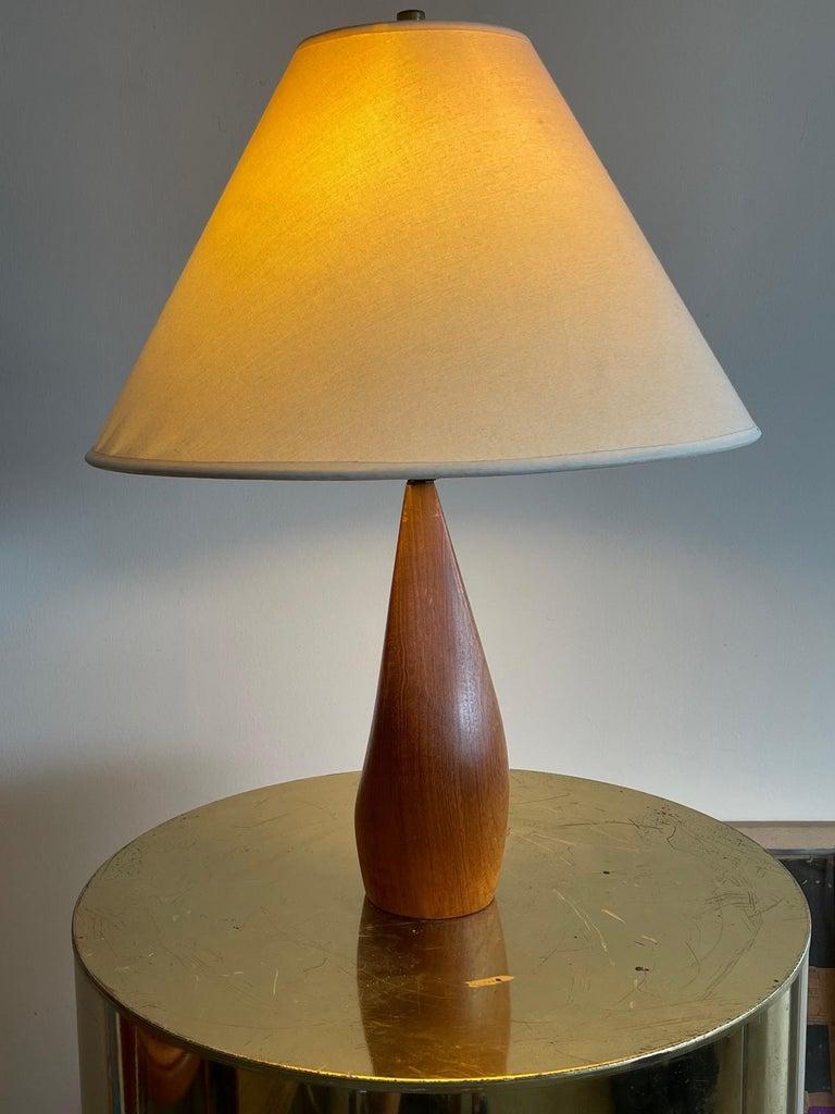 Pair of Biomorphic Danish Teak Lamps by Ernst Henriksen In Good Condition For Sale In St.Petersburg, FL