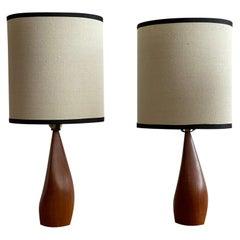 Pair of Biomorphic Danish Teak Lamps by Ernst Henriksen
