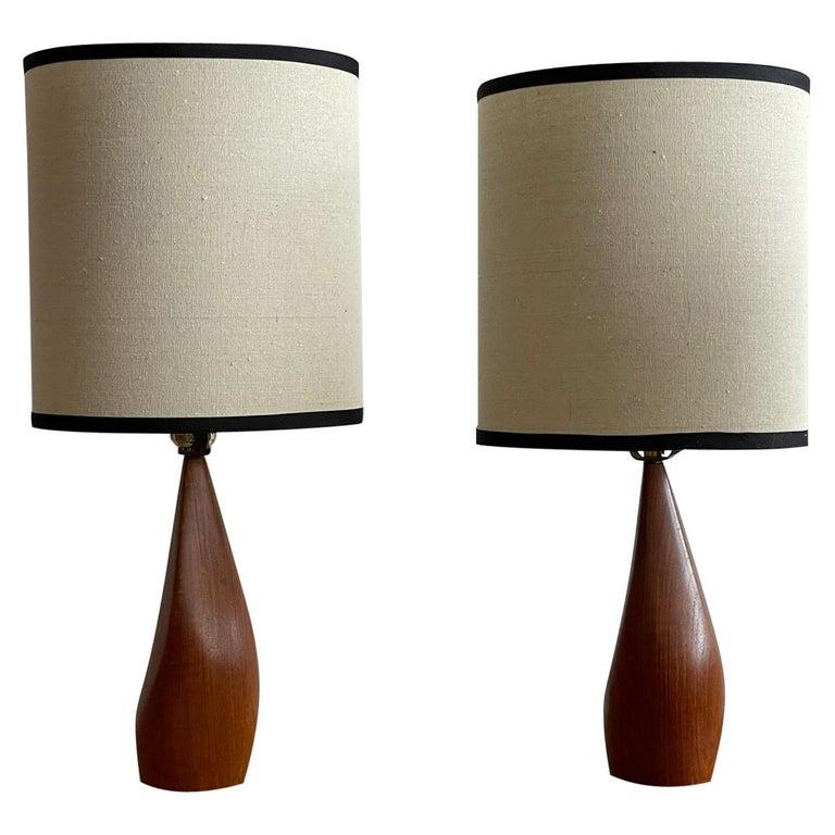 Pair of Biomorphic Danish Teak Lamps by Ernst Henriksen For Sale