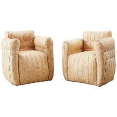 Pair of Biomorphic Organic Modern Woven Rattan Armchairs