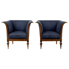 Pair of Birch 1920s Armchair Attributed to David Blomberg